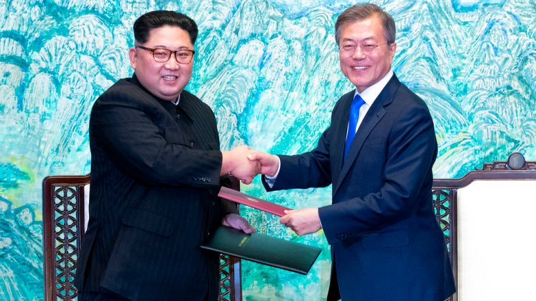 In this April 27, 2018, photo, North Korean leader Kim Jong Un (left) and South Korean President Moon Jae-in shake hands after signing on a joint statement at the border village of Panmunjom in the Demilitarized Zone, South Korea. (AP)