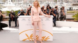 Jury president Cate Blanchett poses for photographers during a photo call for the jury at the 71st international film festival, Cannes, southern France, Tuesday, May 8, 2018. (AP)