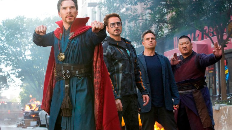 """This image released by Marvel Studios shows (from left) Benedict Cumberbatch, Robert Downey Jr., Mark Ruffalo and Benedict Wong in a scene from """"Avengers: Infinity War."""" (Marvel Studios via AP)"""