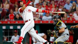 Cincinnati Reds' Eugenio Suarez watches his RBI double off Pittsburgh Pirates starting pitcher Jameson Taillon during the first inning of a baseball game, Tuesday, May 22, 2018, in Cincinnati. (AP)