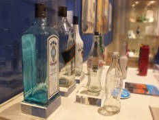 Various glass bottles on display