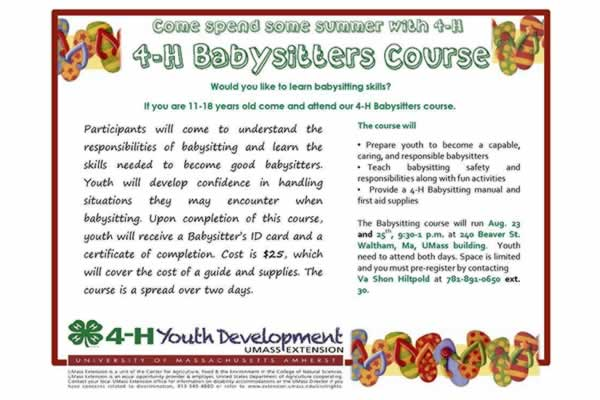 4-H Babysitting Course by UMass Extension (2 day course) Discover - babysitting skills
