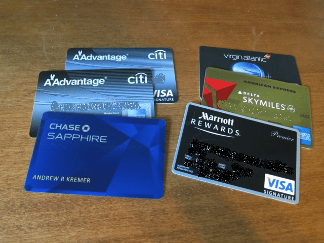 Multiple credit cards used for travel rewards