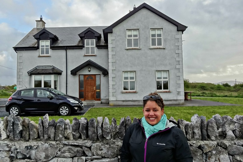 Becki and Podge in front of our sweet rental home, Oyster Lodge just outside Kinvara