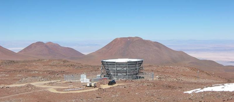 Two telescope projects are measuring cosmic microwave background radiation with the goal of understanding more about the universe's early history. The telescopes (pictured) are located on a peak in the Atacama Desert in Chile. (Image courtesy of ACT Collaboration)