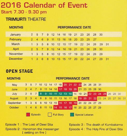 Ramayana Ballet Prambanan 2016 schedule