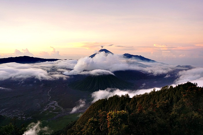Sunrise overlooking Bromo and Batok mountain