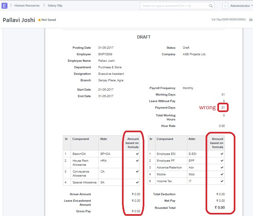 In Payroll, amount not showing salary slip and attendance days wrong - payroll slip