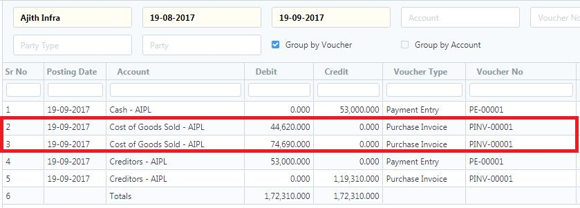 Purchase Invoice problem  Total purchase cost getting separated in