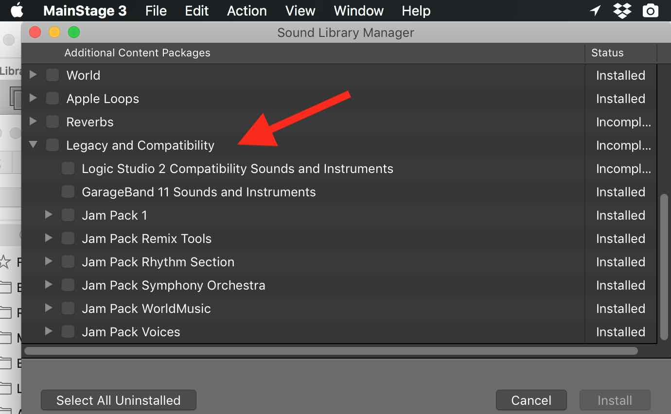 Garageband Loops Mainstage3 Content Jampacks Do Not Appear Apple Community