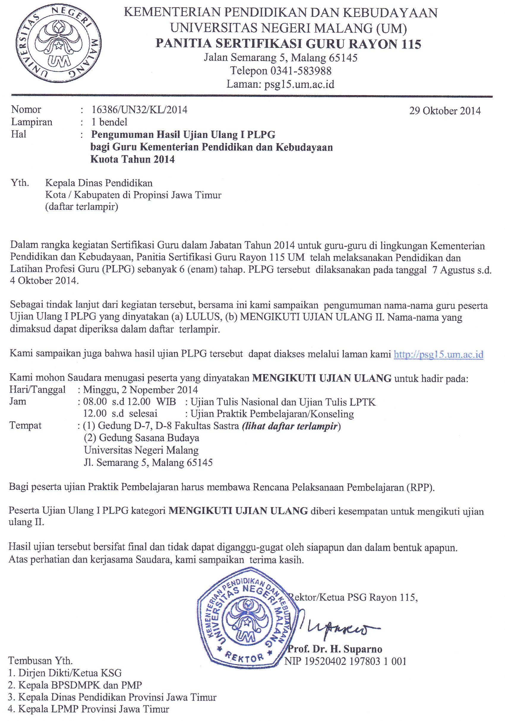 Cpns Lamongan Formasi Lowongan Cpns Sma Smk Ma Tahun 2016 Hasil Ujian Ulang I Plpg Universitas Negeri Malang Um