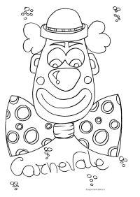 Disegno da colorare sul Carnevale: Faccia da pagliaccio ...