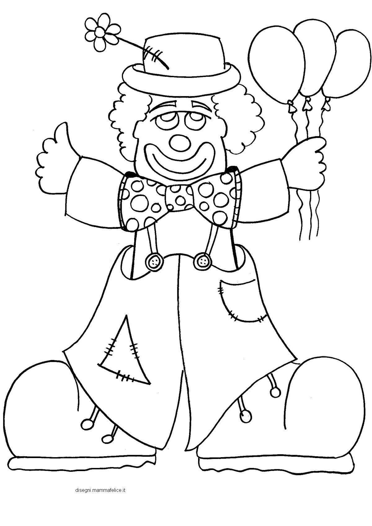 Disegno da colorare sul Carnevale: il pagliaccio