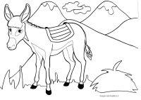 Disegni per bambini da colorare: l'asinello e le montagne ...