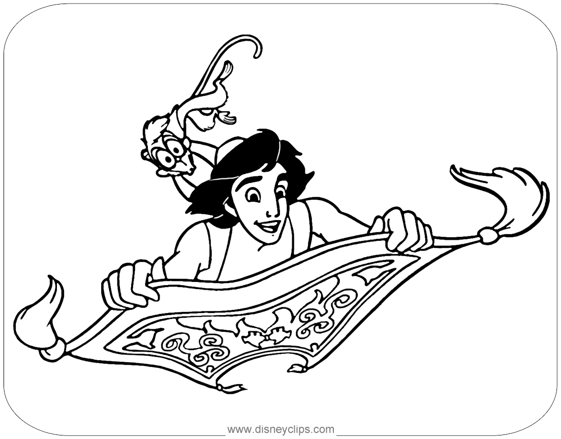 Aladdin Abu Png Disney S Aladdin Coloring Pages Disneyclips