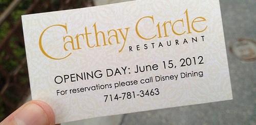 Carthay Circle Restaurant Business Card