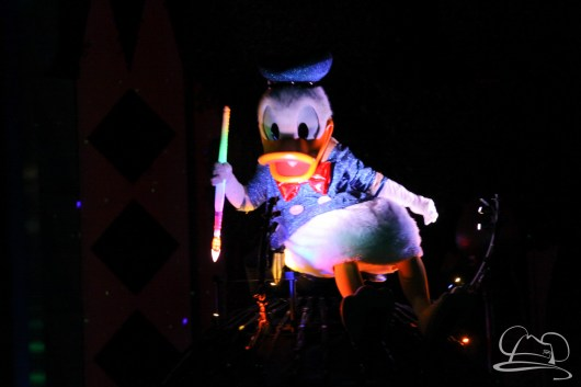 Donald Duck in Disneyland's Paint the Night Parade.