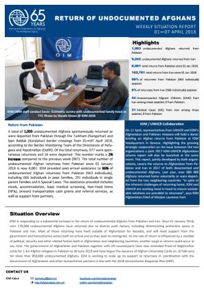 Afghanistan \u2014 Return of Undocumented Afghans Weekly Situation Report