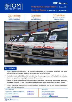 Yemen \u2014 Weekly Situation Report (30 September \u20146 October 2018