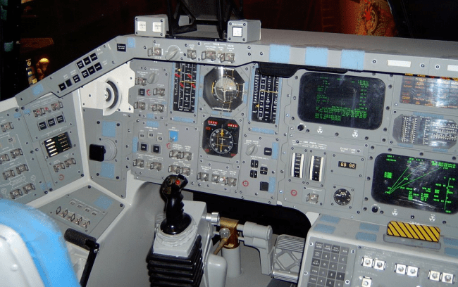Original shuttle cockpit with mechanical displays