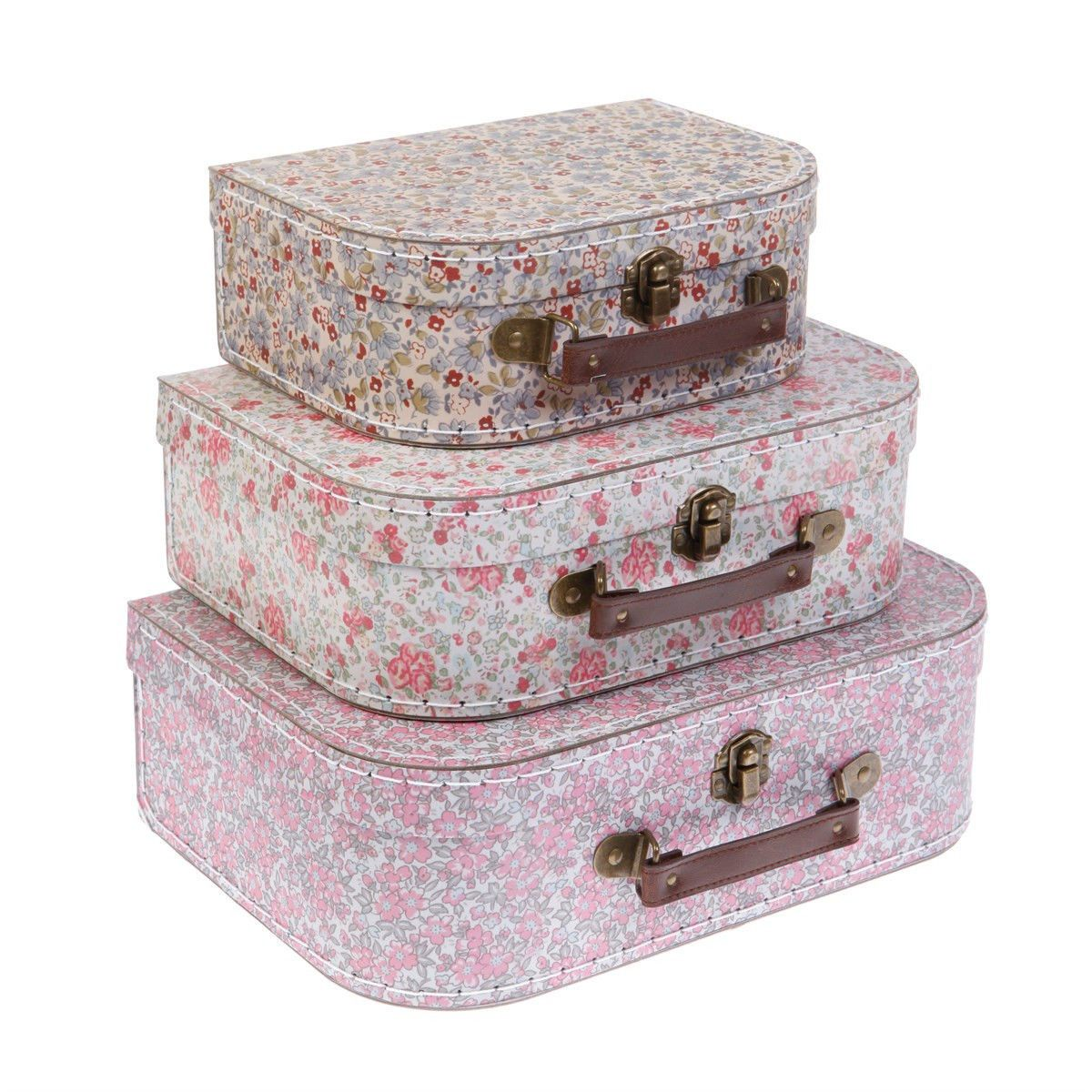 Vintage Decorative Suitcases Set Of 3 Decorative Vintage Ditsy Floral Suitcases Storage