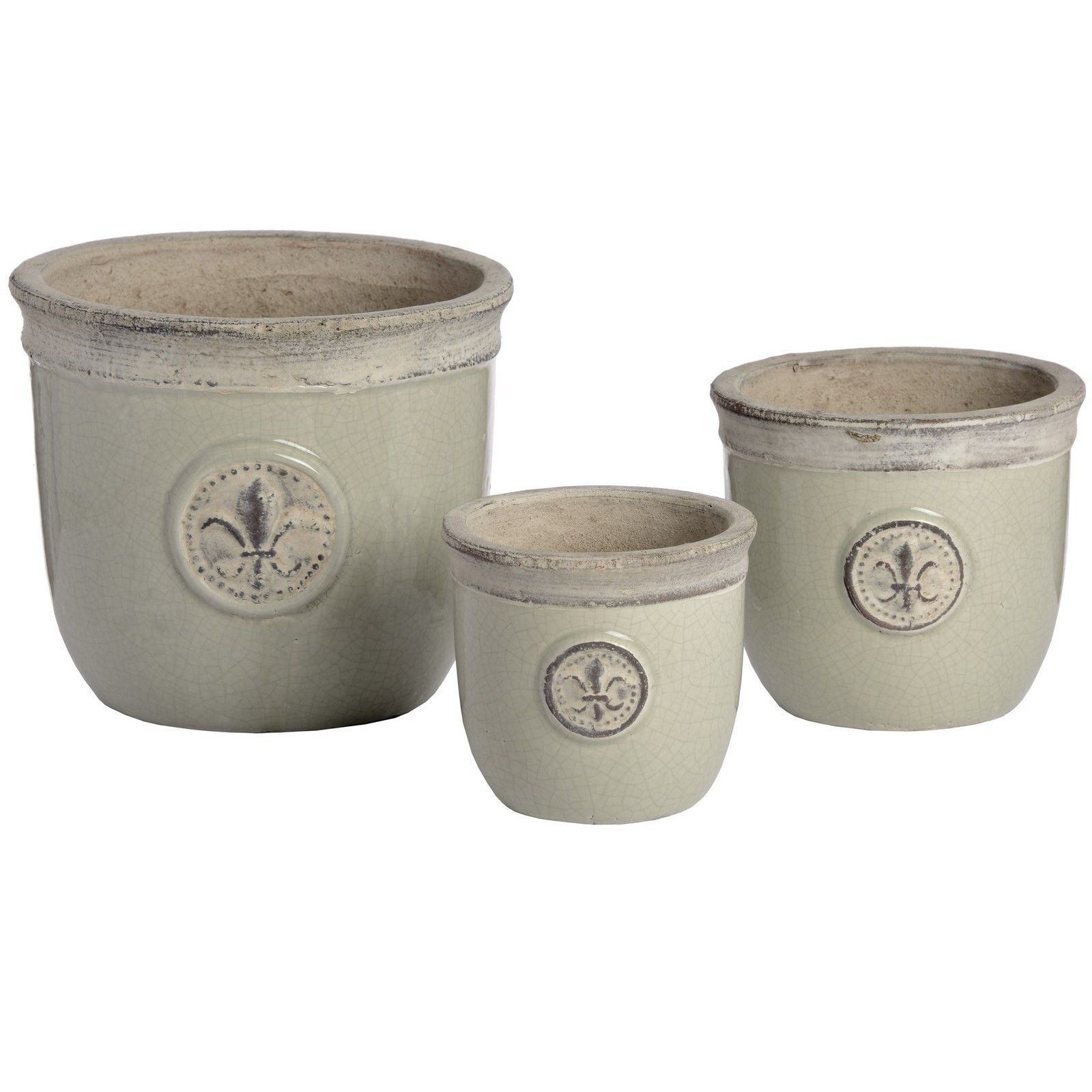 Planter Lys En Pot Three Ceramic Garden Planters Fleur De Lys Flower Plant Pot Pale Green
