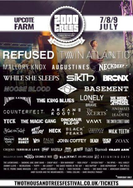 2000 Trees Festival - 2016 Lineup