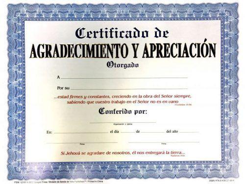 CERT AGRADECIMIENTO Y APRECIACION ADULTO - Distribuidora Pan de Vida