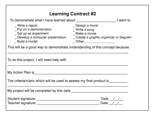 Learning Contract Template student behavior contract - lektire
