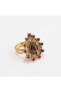 Pink Stone Studded Antique Finger Ring