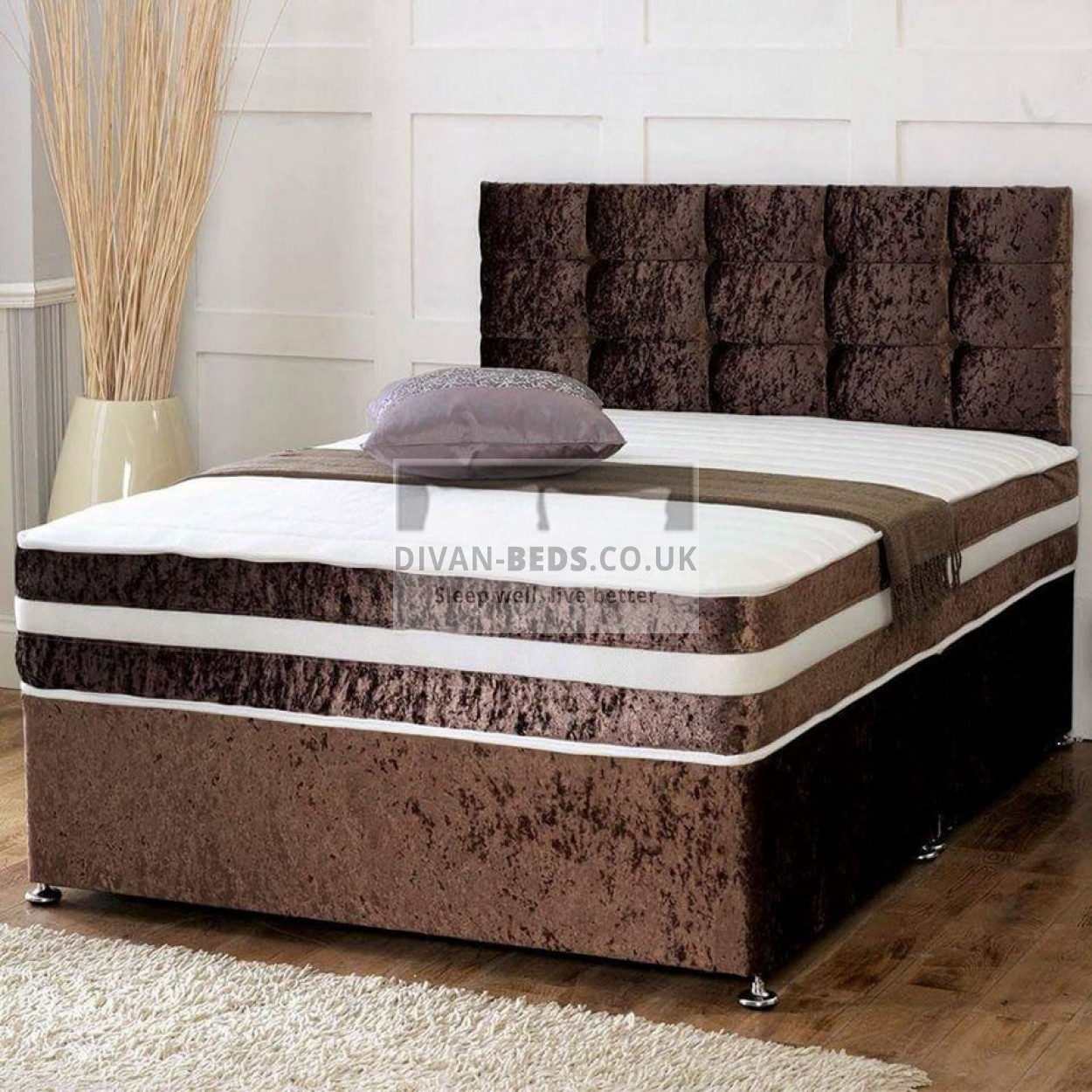 Divan Bed And Mattress Deals Brown Crushed Velvet Divan Set With Matching Fabric Headboard And