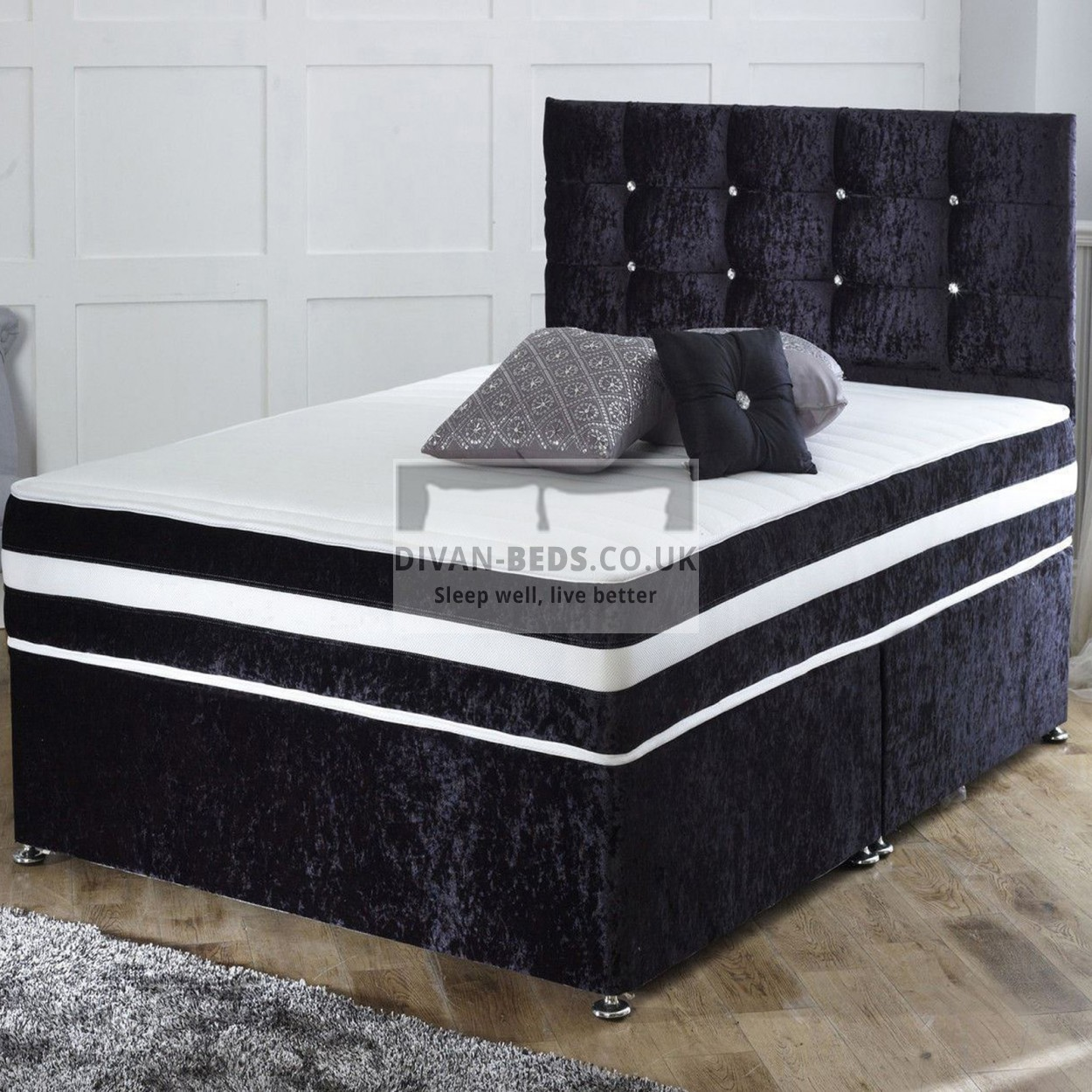 Divan Bed And Mattress Deals Richard Crushed Velvet Divan Bed With Orthopaedic Spring Mattress