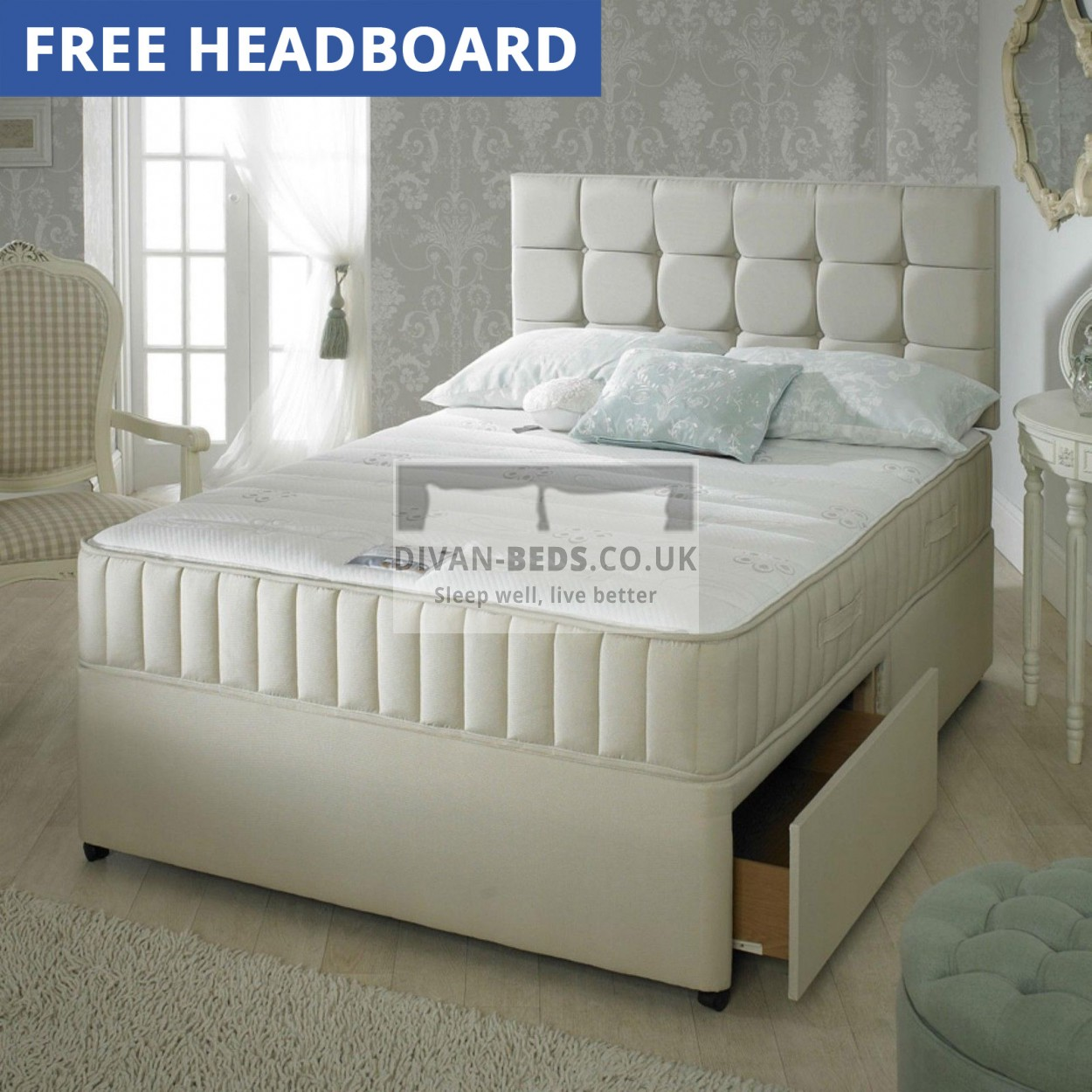 Divan Bed And Mattress Deals Carlton Leather Divan Bed With 1500 Pocket Spring Memory Foam Mattress