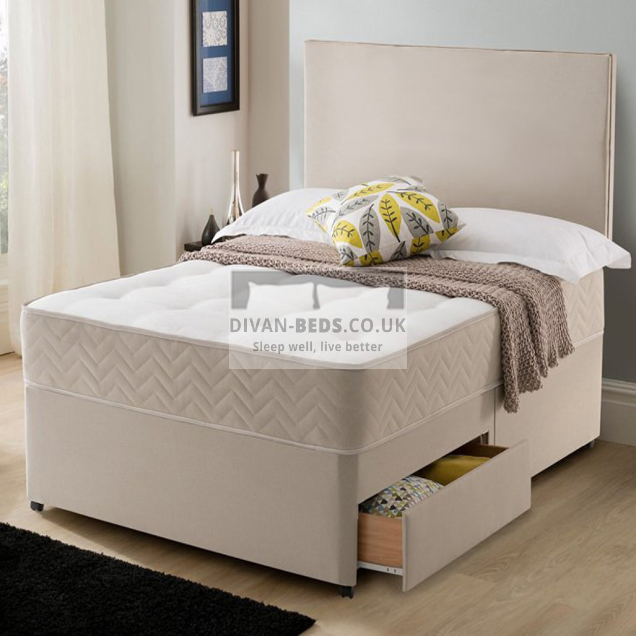 Divan Bed And Mattress Deals Callum Stone Suede Divan Bed With Spring Memory Foam Mattress