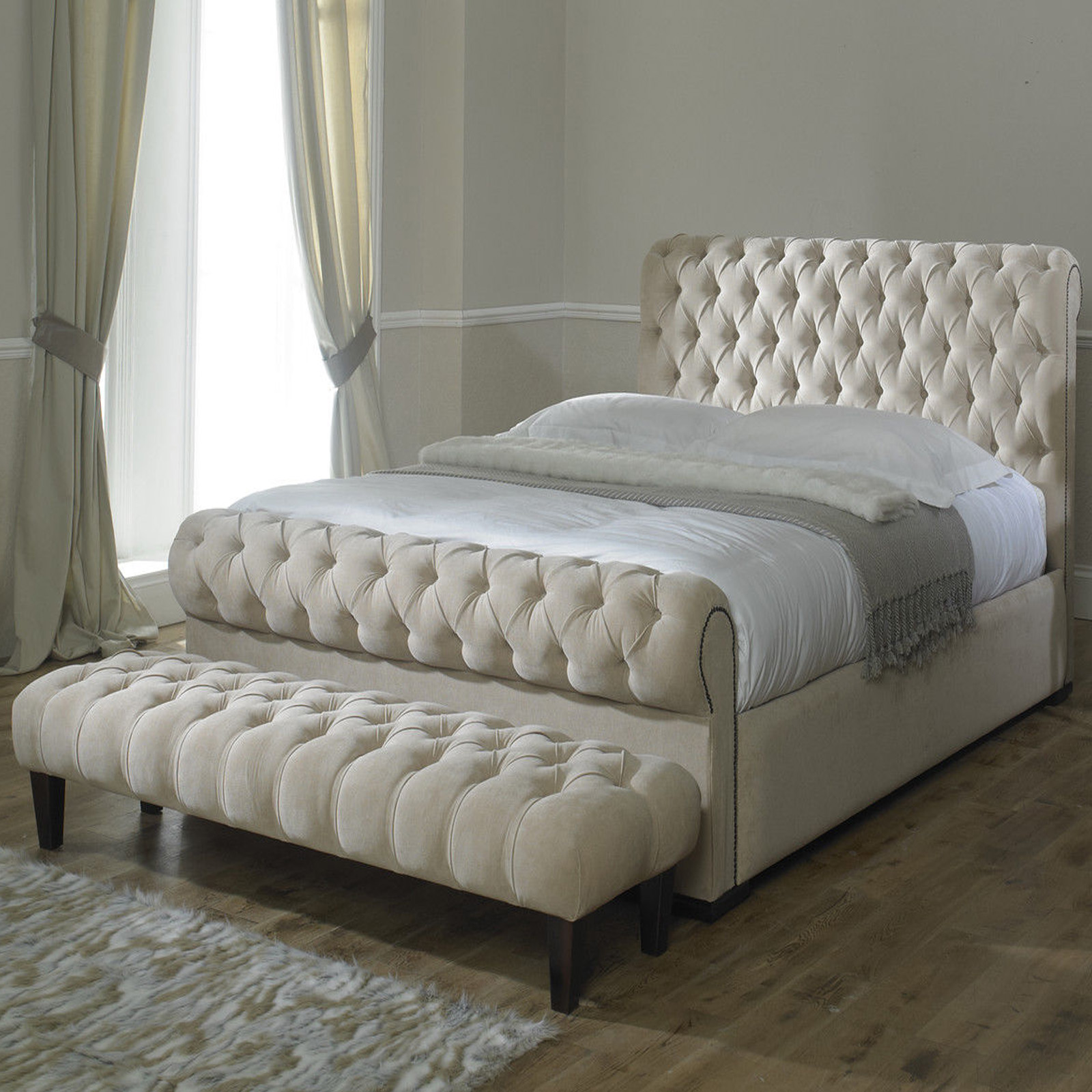 Fabric Bed Frames Rosaline Luxury Fabric Upholstered Bed Frame