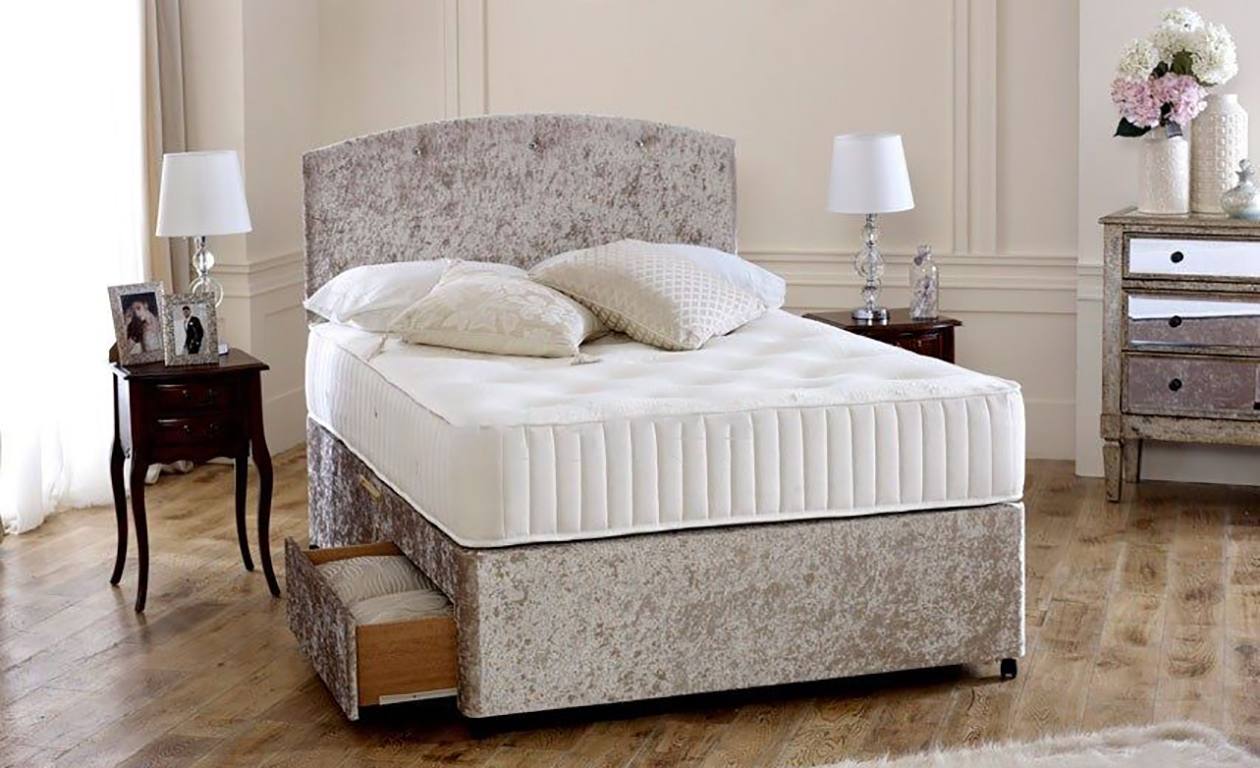 Double Divan Beds Premium Cream Crushed Velvet 4ft Small Double Divan Bed Base Only