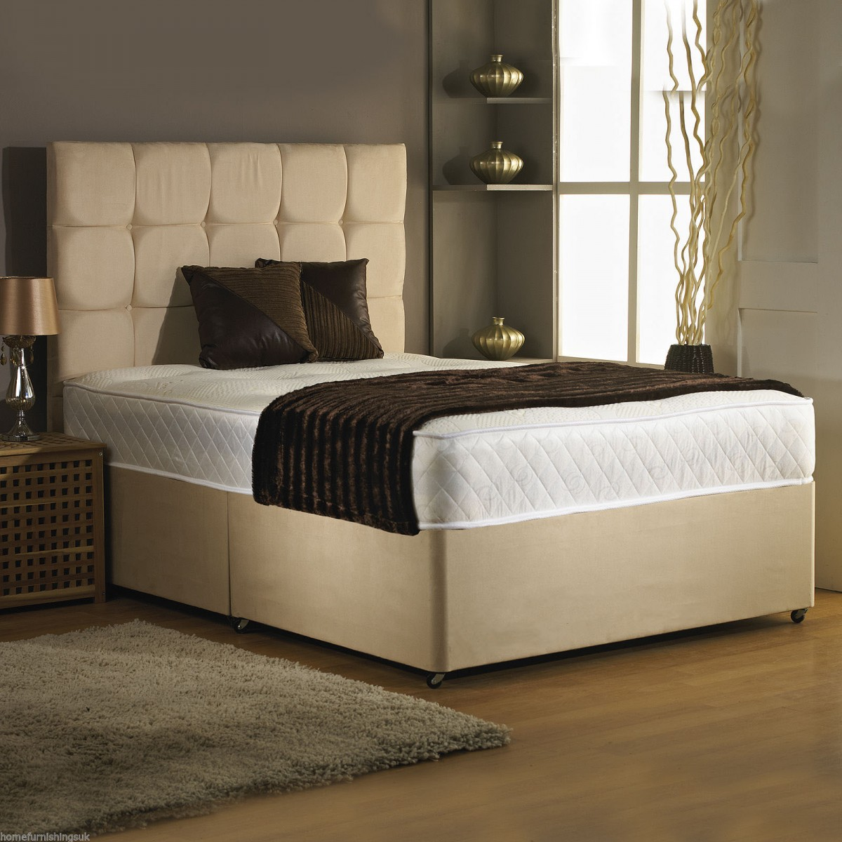 Double Divan Beds 4ft 6in Double Divan Bed Base In Stone Colour Suede