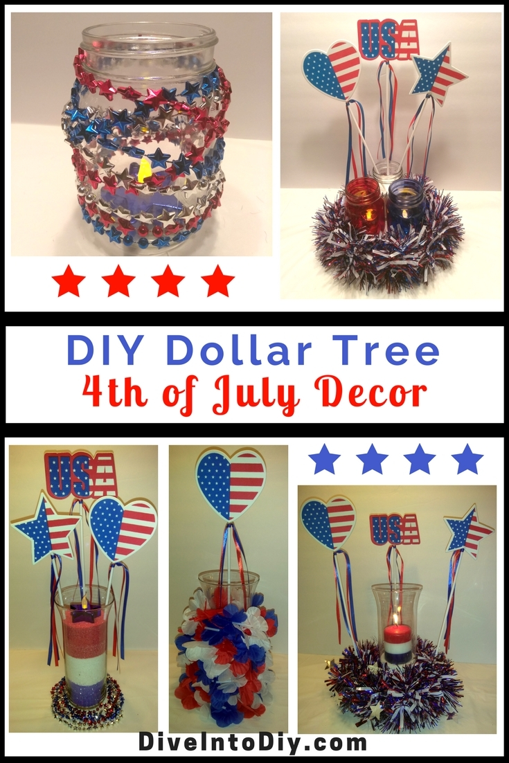 diy Dollar tree 4th of July Decor centerpiece decorations pinterest patriotic usa america independence day craft