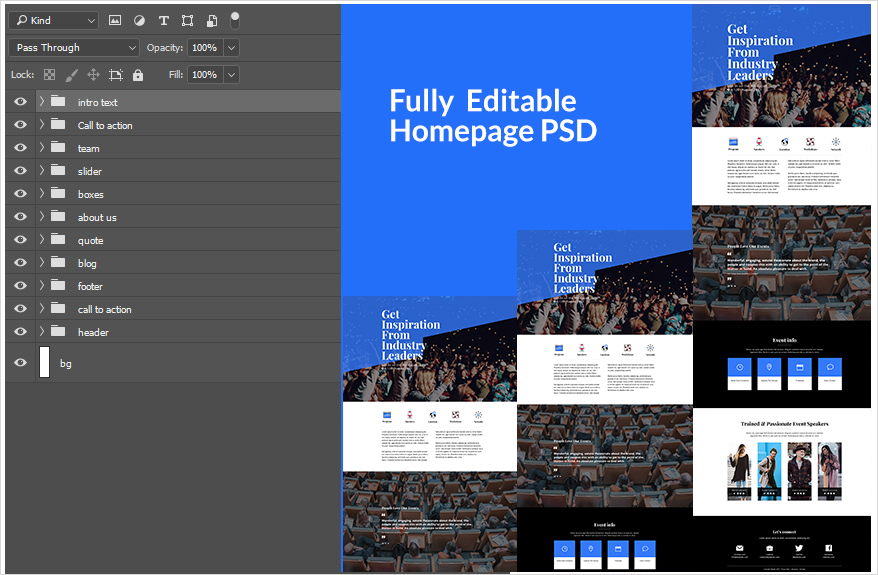 Divi Layout PSD For An Event Company