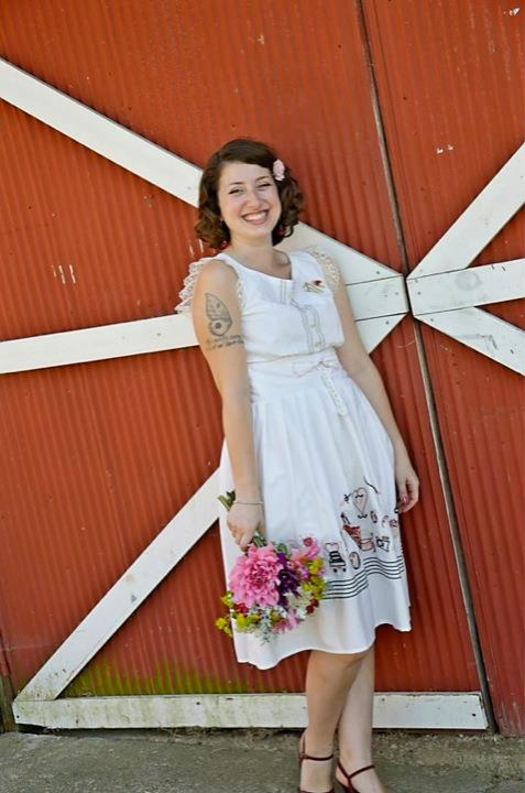 "My embroidered ""history of us"" wedding dress, in action!"