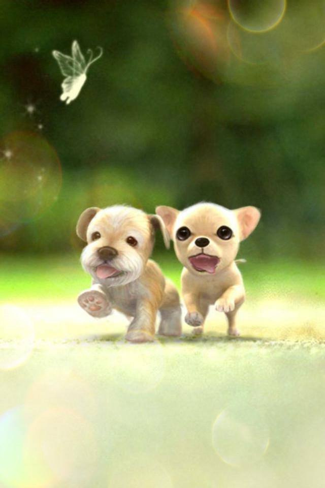 Cute Iphone Wallpaper App かわいい子犬の駆けっこ Iphone壁紙ギャラリー
