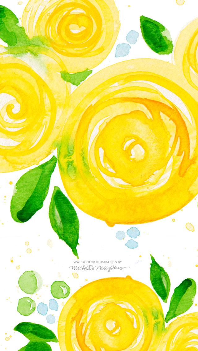 Fall Lilly Pulitzer Wallpaper 黄色い花の水彩画 スマホ壁紙 Iphone待受画像ギャラリー