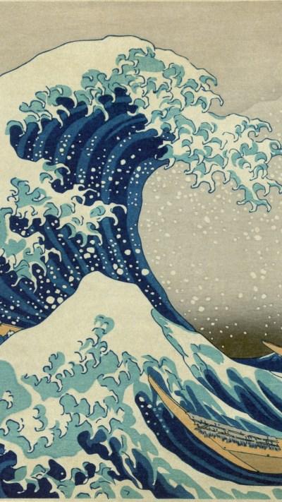 【人気230位】神奈川沖浪裏 - 葛飾北斎 | 日本絵画のiPhone壁紙 | iPhoneX,スマホ壁紙/待受画像ギャラリー