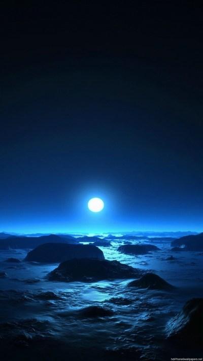 月に照らされる夜の海 | iPhoneX,スマホ壁紙/待受画像ギャラリー