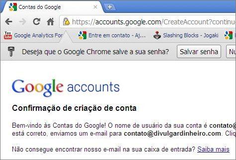 mensagem criar confirmar nova conta google