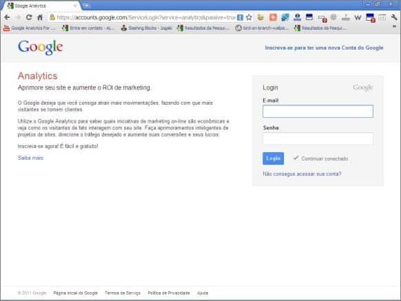 google analytics página login