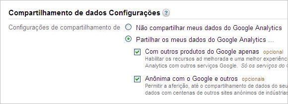 configurar compartilhamento dados google analytics