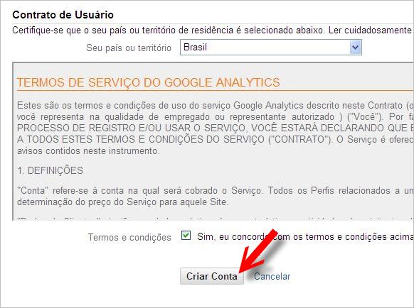 contrato termos serviço google analytics
