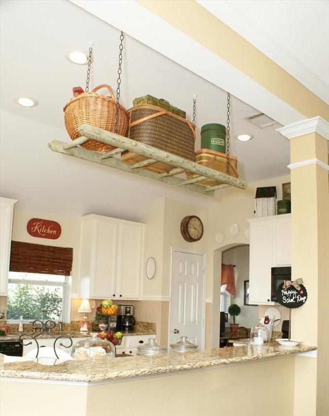 diy ladder shelf kitchen suspended ceiling storage small kitchen pots special place kitchen diy kitchen