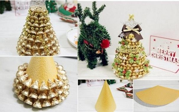 Homemade christmas gift idea tabletop tree gold chocolates